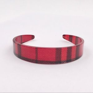 Vintage Lucite Red Plaid Tapered Cuff Bracelet